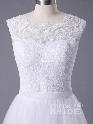 Boho Sleeveless Applqiues Wedding Dress On Sale | Elegant Jewel Lace TulleBridal Gowns_5