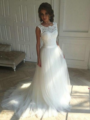 Boho Sleeveless Applqiues Wedding Dress On Sale | Elegant Jewel Lace TulleBridal Gowns_1