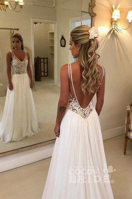 Appliques A-Line Floor-Length Wedding Dress On Sale | Charming V-Neck Sleeveless Bridal Gowns_2