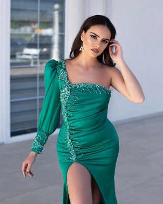 Classic Green Mermaid Prom Dress One Shoulder Evening Gowns With Slit_2