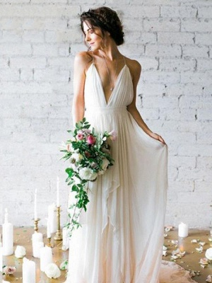 A-line Backless Floor Length Wedding Dress Online | Sexy Spaghetti Straps V-neck Bridal Gowns