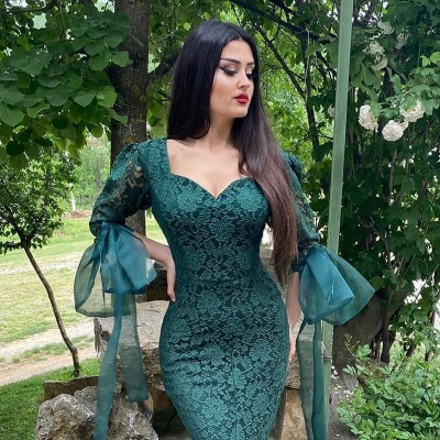 Chic Green Long Sleeve Lace Prom Dress Mermaid Evening Party Gowns_4