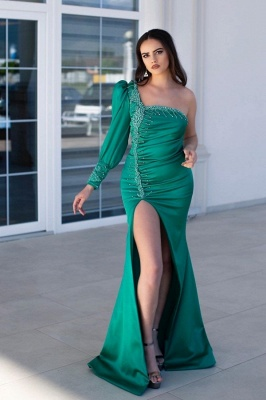 Classic Green Mermaid Prom Dress One Shoulder Evening Gowns With Slit