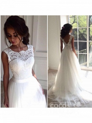 Boho Sleeveless Applqiues Wedding Dress On Sale | Elegant Jewel Lace TulleBridal Gowns_2