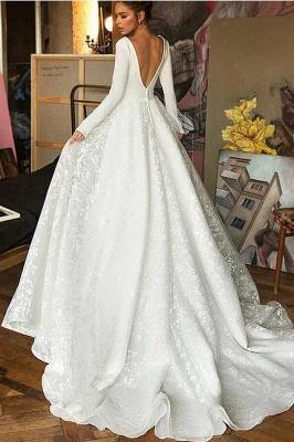 Boho Long Sleeve Appliques Wedding Dress On Sale | Elegant V-neck White Lace Bridal Gowns_3