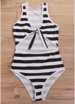Striped Tie Front Wireless Women One Piece Monokini_5