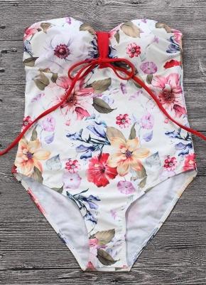 Women Floral Contrast One Piece Bathing Suit UK_3