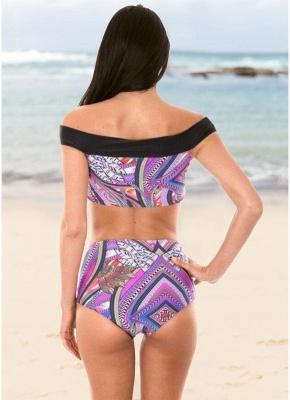 Bohemian Women Tank Top Bikini Set UK Off Shoulder Colorful Geometric Print Padded High Waist Hot Bathing Suit UK_3