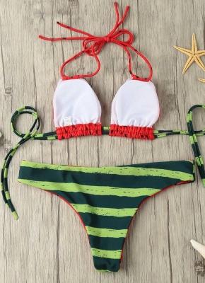 Hot Halter Watermelon Print Padded Wireless Women's Bikini UK_4