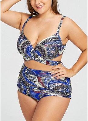 Floral Print Bikini Set Tie Back Strappy High Waist_4