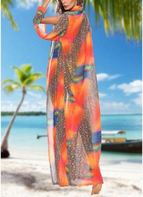 Women Leopard Print Chiffon Cardigan Bikini UK CoverUp Beach Bohemian Outwear Maxi Coverups_4