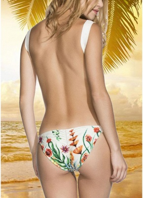 Printed V Neck Sexy Open Back Padded Monokini_2