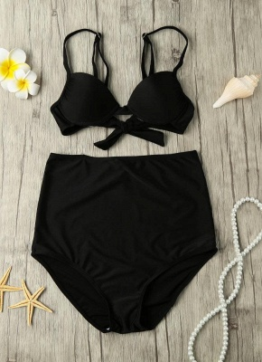 Solid Color Tie Back Underwire High Waist Bikini Set_4