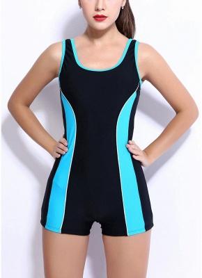 Modern Women Sports One Piece Swimsuit Racing Swimwear i Bathing Suit Beachwear Boxer Bodysuit_2