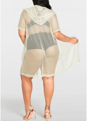 Modern Women Bikini Cover Up Fishnet Hooded Cardigan Plus Size Outerwear Beachwear_3