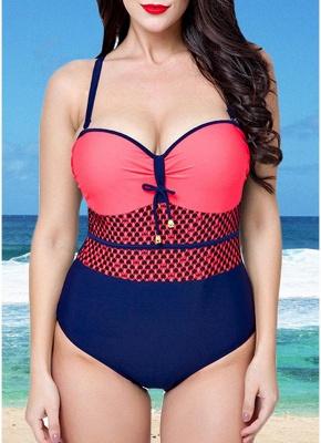 Modern Women Swimsuit One Piece Swimwear Color Splice Ruched Underwire Swimsuit Beach Wear_3