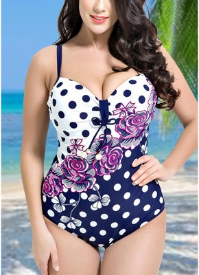 Modern Women Plus Size Floral Dot Swimsuit Cut Out Backless Plunge Strap Monokini_3