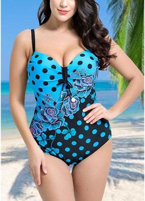 Modern Women Plus Size Floral Dot Swimsuit Cut Out Backless Plunge Strap Monokini_1