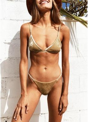 Hot Women Wire Free Padding Low Waist Thong Biquini Bikini Set UK_2