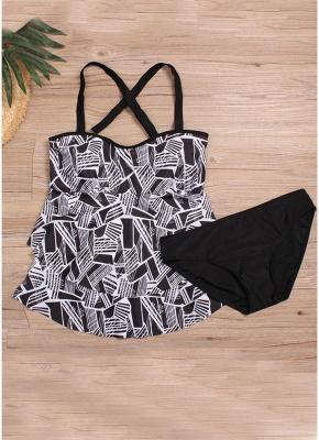 Modern Women Plus Size Tankini Set Geometric Print Shoulder Strap Beachwear Swimwear Swimsuit_4