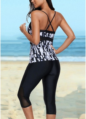 Retro Women Tankini Capris Deep V Printed Cross Over Sexy Backless Bathing Suit UK_4