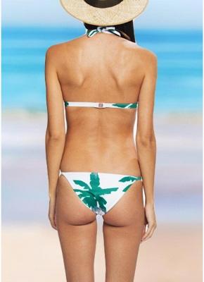 Womens Floral Halter Bikini Set Bathing Suit Low Waist Tank top Bathing Suit Swimwear_3
