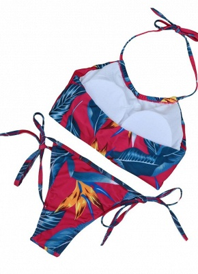 Floral Print Halter Wireless Padded Two Piece Bikini Set Swimwear_3