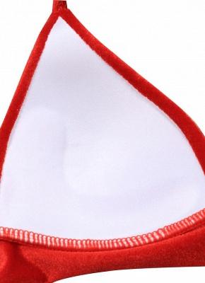 Solid Velvet Triangle Halter Bandage Push Up Bikini Set_6