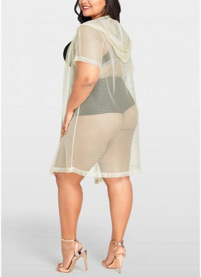 Modern Women Bikini Cover Up Fishnet Hooded Cardigan Plus Size Outerwear Beachwear_5