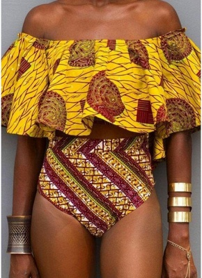 Off the Shoulder Tribal Print Ruffle High Waist Bikini Set_1