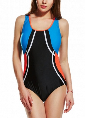 Modern Women Sporty One Piece Swimsuit Racer Back Contrast Splicing Padded Swimwear Playsuit_1