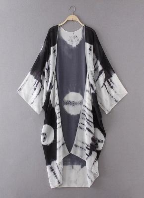 Print Chiffon Longline Loose Contrast Kimono_6