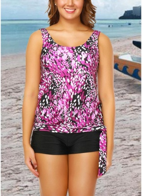 Modern Women Plus Size Push Up Tankini Swimsuit Padded Swimwear Printed Bathing Suit_1