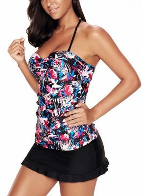 Modern Women Plus Size Floral Halter Bikini Swimsuit Criss Cross Tankini Skirt Set_4