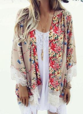 Retro Floral Lace Hem Bohemian Chiffon Kimono_4