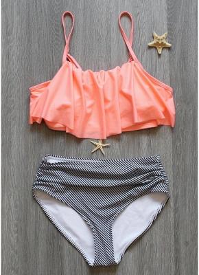 Modern Women Bikini Set Ruffles High Waist Ruched Padded Wireless Two Piece Swimsuit Swimwear_4