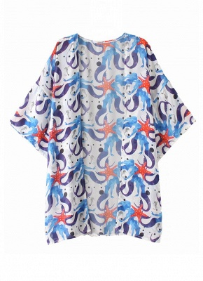 Women Chiffon Beach Kimono Mermaid Print Sea Holiday Cardigan_2
