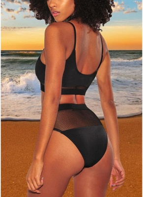 Modern Women Bikini Swimwear Fishnet High Waist Wireless Bathing Suit Swimsuits Two-Piece_3