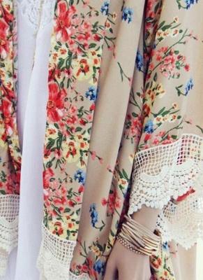 Retro Floral Lace Hem Bohemian Chiffon Kimono_6