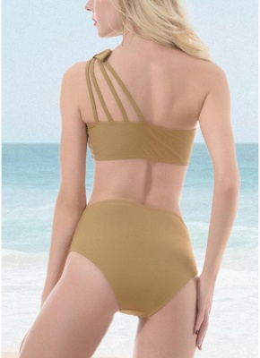Women One Shoulder Hollow Out Side Bodycon High Waist Padded Wireless Tank Top Bikini Set UK_4
