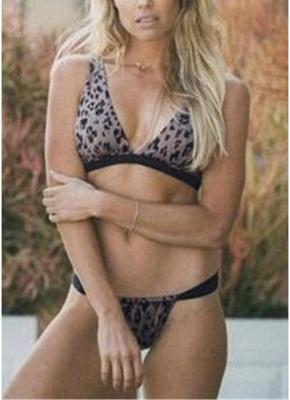 Womens Leopard Print Swimsuit Set Tank tops Bikini Bathing Suit_1
