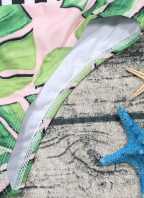 Leaf Striped Halter Tie Back Padded Bikini Set_7