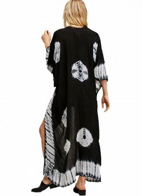 Print Chiffon Longline Loose Contrast Kimono_5