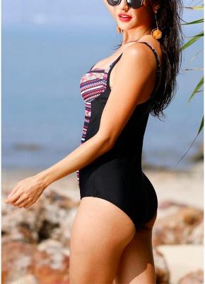 Womens Print One Piece Swimsuit Padding Push Up Wireless Beach Bathing Bathing Suit_4