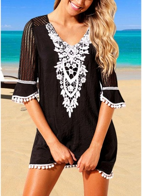 Crochet Lace Hollow Out Half Sleeves Loose Cover Ups_1