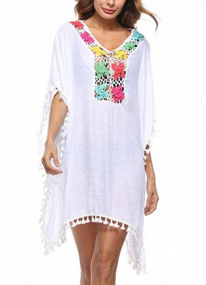 Crochet Lace Hollow Out Bohemian Loose Beach Wear Cover-up_1