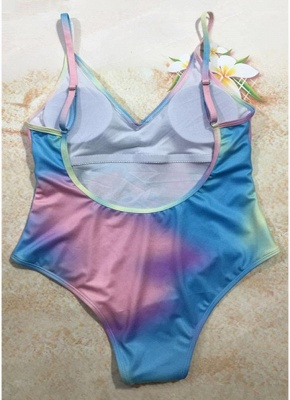 Modern Women Colorful Bull Tie Dye Plunge V Padded Push Up One Piece Swimsuit_3