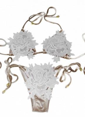 Womens Velvet Swimsuit Halter Crochet Lace Tie Wireless Bathing Suit Bikini Beach Wear_1