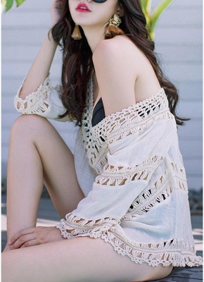 Women Beach Cover Ups Hollow Out Crocheted Lace Plunge V-neck Asymmetrical Hem_6