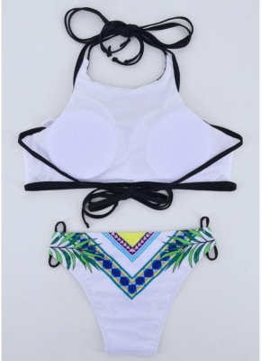 Letters Print Halter Tie Backless Padded Two Pieces Swimsuit_4